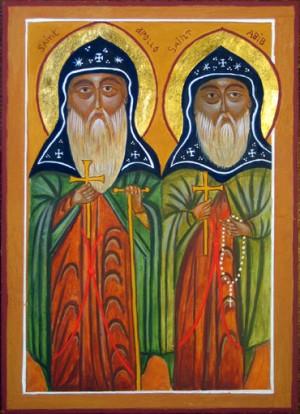Icono copto de los Santos Apolo y Abib.