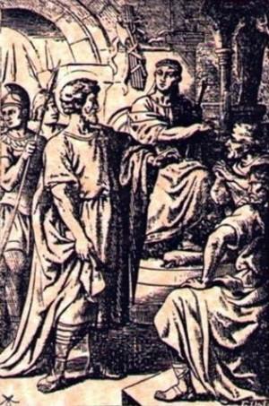 Estampa devocional de San Apolonio el Apologista, mártir romano.