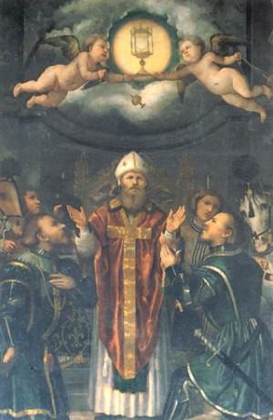"""Lienzo de San Apolonio, obispo, obra de Girolamo Romani """"Il Romanino"""". Basílica de los Santos Faustino y Jovita, Brescia (Italia)."""