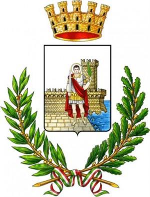 Escudo de la ciudad de San Benedetto del Tronto (Italia), que reproduce la imagen del Santo.