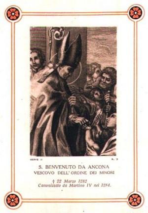 Estampa devocional italiana del Santo haciendo caridad.