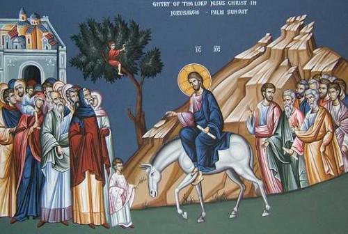 Fresco ortodoxo griego de la entrada de Jesús en Jerusalén.