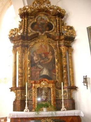 Santa Fausta, mártir romana, venerada en este altar de Walderbach,