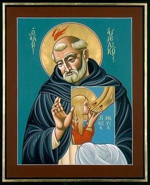 Icono griego del Beato portando una imagen de Santa María Magdalena.
