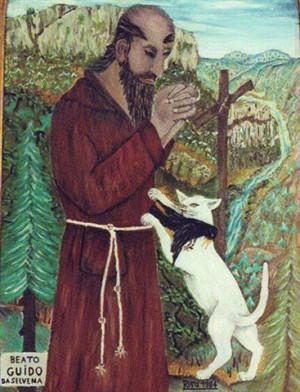 Ilustración del Beato Guido de Selvena con el gato trayéndole un pájaro cazado.