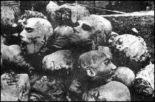 Cabezas cortadas de armenios masacrados.