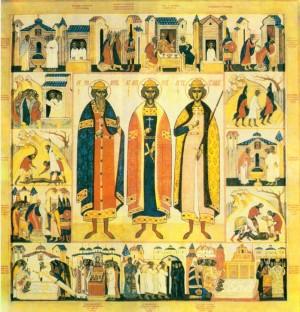 Los tres santos con escenas de sus vidas y sus martirios. Icono de 1970, Monasterio del Espíritu Santo de Vilnius (Lituania).