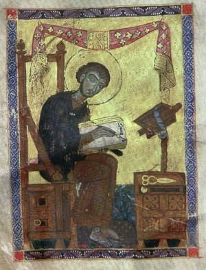 Iluminación armenia del Santo escribiendo su obra.