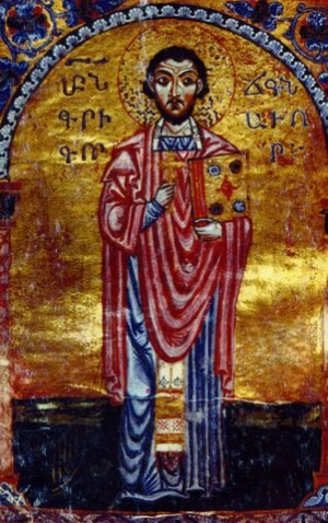 Miniatura del 1173 representando al santo.