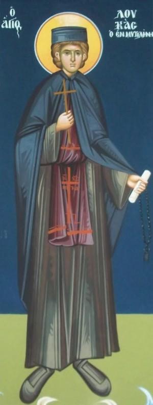 Fresco representando al santo en el interior de su iglesia en Mitilene, Grecia.