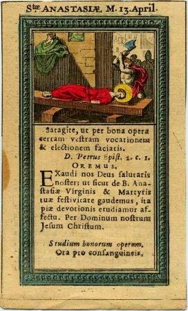 Página de un Misal romano con la miniatura de Santa Anastasia sufriendo la amputación de sus miembros.