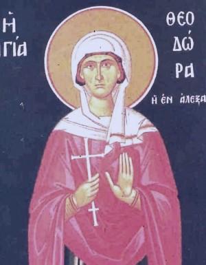Icono ortodoxo griego de Santa Teodora, mártir de Alejandría.