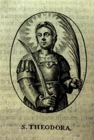 Santa Teodora vestida con los pertrechos de San Dídimo. Grabado de Joost Van der Vondel.