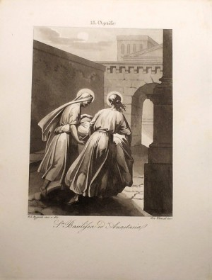 Las Santas recogiendo los cadáveres de los apóstoles. Grabado de Filippo Biglioli para un calendario de Santos.
