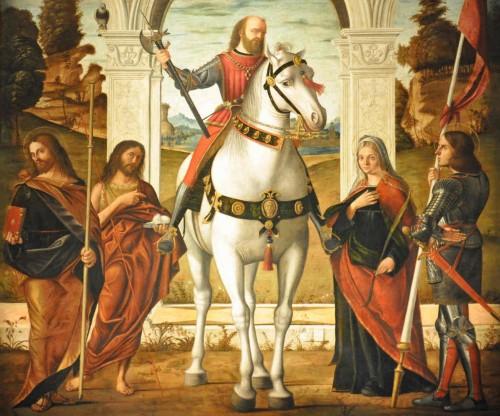 Detalle de los Santos Vidal (a caballo) y Valeria (dcha.) Lienzo de Vittore Carpaccio (1514). Iglesia de San Vidal, Venecia (Italia).