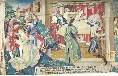 Secuencia del martirio de Valeria: apaleada (izqda.) y muriendo en su lecho a causa de las heridas (dcha.) Tapiz medieval de la catedral de Le Mans, Francia.