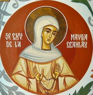 Fresco ortodoxo rumano de la Venerable Maura de Ceahlău.