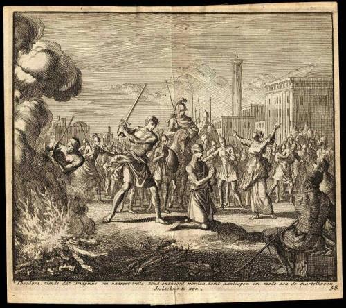 Martirio e incineración de los cadáveres de los Santos. Grabado de Jan Van Luyken.
