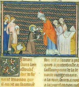 El Santo comulgando. Iluminación de las Grandes crónicas de Francia del siglo XIV. Biblioteca Nacional de París.
