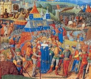 Batalla de Al-Mansura. Iluminación medieval.