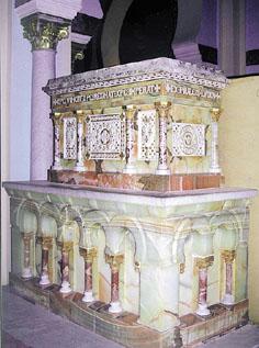 Reliquias en la catedral de Cartago (Túnez).