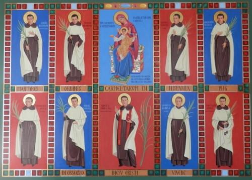Pintura de los mártires del Henar y el P. Alberto Marco.