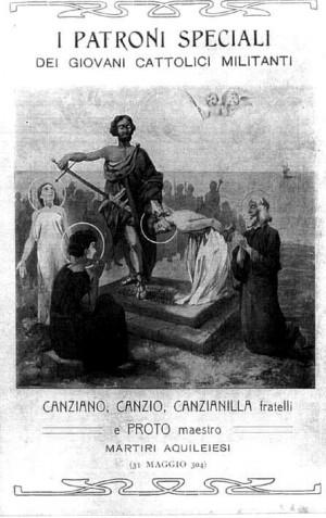 Estampa devocional italiana con el martirio de los Santos.