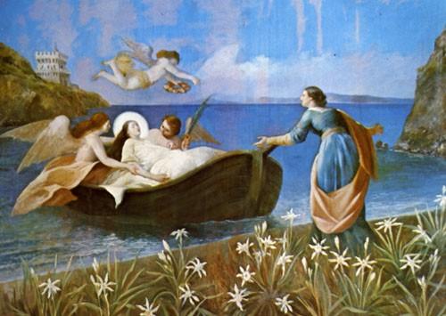 Lucina recibe el cuerpo de Restituta en la playa de San Montano. Lienzo de Ferdinando Mastriani, iglesia de la Santa, Lacco Ameno, Ischia (Italia).