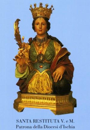 Busto-relicario de la Santa venerado en su iglesia de Lacco Ameno, Ischia (Italia).