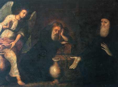 Pintura de los Santos Juan el Asceta y Teófilo el Llorón.