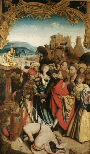 Los Santos se niegan a sacrificar y son ejecutados. Altar de Krainburger (1510).  Iglesia parroquial de Kranj, Eslovenia.