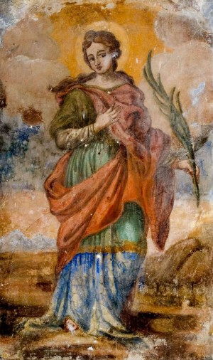 Fresco de Santa Restituta Romana en Sora, Italia.