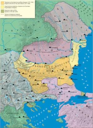 Mapa de Europa Oriental a mediados del s.XIV, con los reinos de Vidin y Tarnovo y el principado de  Dobruja-Valaquia-Moldavia.