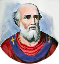 Miniatura coloreada del Santo, inspirada en su medallón en la galería de Papas de San Pablo Extramuros, Roma.
