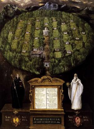 """Alegoría de la Orden Camaldulense. Obra de Domenikos Theotokopoulos """"El Greco""""."""