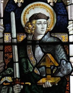 Vidriera del Santo en la iglesia de Santa Maria, Sledmere, East Riding of Yorkshire (Reino Unido).