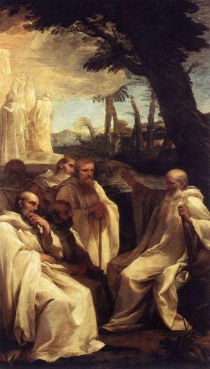 San Romualdo y sus discípulos. Obra de Andrea Sacchi.