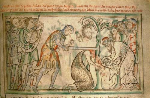 Martirio del santo en un manuscrito del siglo XIII conservado en el Trinity College de Dublín, Irlanda.