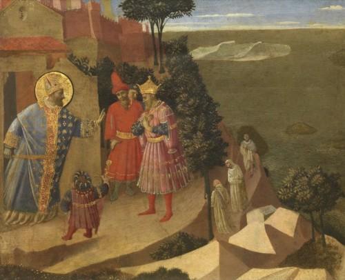 San Romualdo ante el emperador Otón III. Obra del beato Fra Angélico.