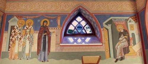 La Virgen se aparece al Santo. Fresco en el monasterio Svyatogorsky.