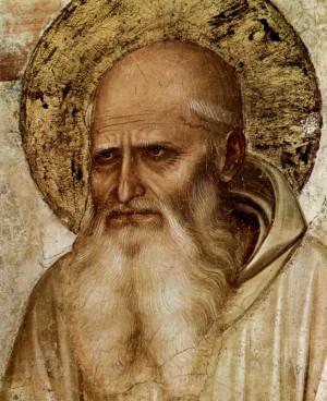 Detalle del rostro del Santo, por Fra Angelico.