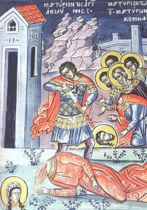 Martirio de la Santa. Fresco ortodoxo griego.