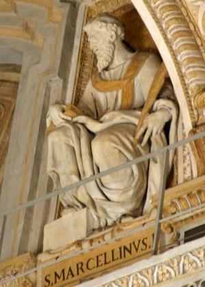 Detalle de San Marcelino Papa. Basílica de San Pedro del Vaticano, Roma (Italia). Fuente: www.stpetersbasilica.org