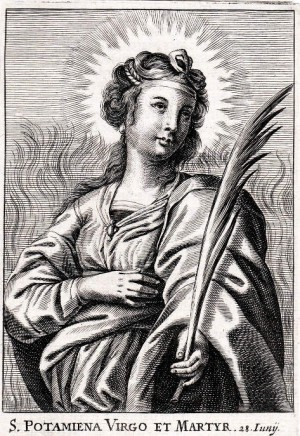 Grabado de Santa Potamiena, obra de Rosweydus Cnobbaert.
