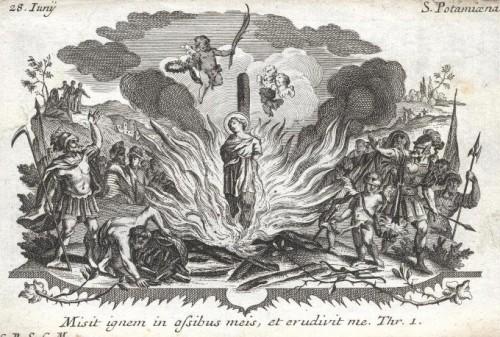 Martirio de la Santa, interpretrado como quema en la hoguera.