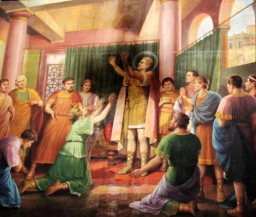 San Sebastián cura a Santa Zoe. Pintura en la iglesia del Santo en León, Guanajuato (México).