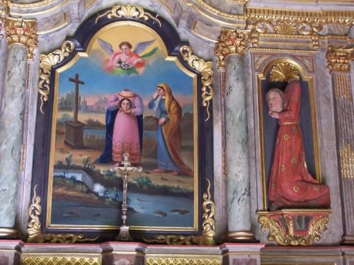 Cuadro de altar e imagen de la Santa cefalófora. Capilla de la Santa en Pontivy, Francia.