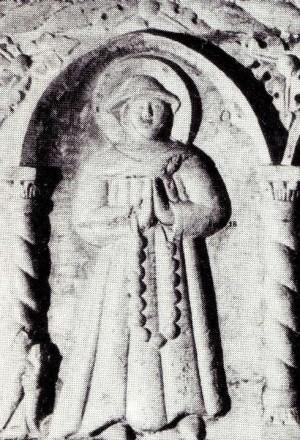 Detalle de la Santa en el sarcófago de Santa Augusta de Serravalle.