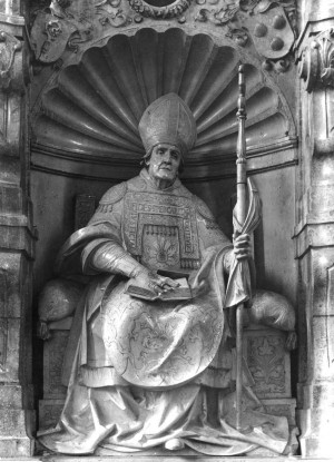 Imagen del santo en el dorso del altar del sepulcro. Catedral de Eichstätt, Alemania.