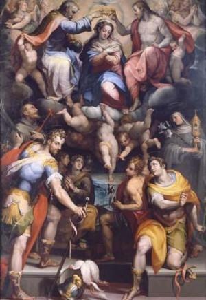 Los dos santos sobre la coronación de la Virgen. Obra de Horacio Sammacchini, Pinacoteca de Bologna (Italia).